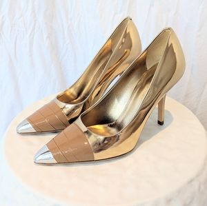 🔥Burberry Gold + Silver Tape Detail Pumps 36 🔥
